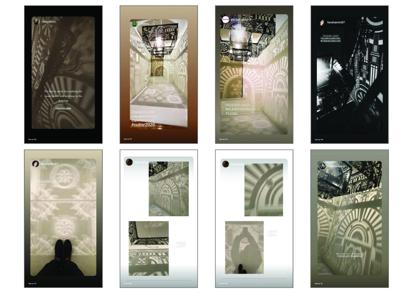 8 photos of shadow patterns by visitors to the exhibition