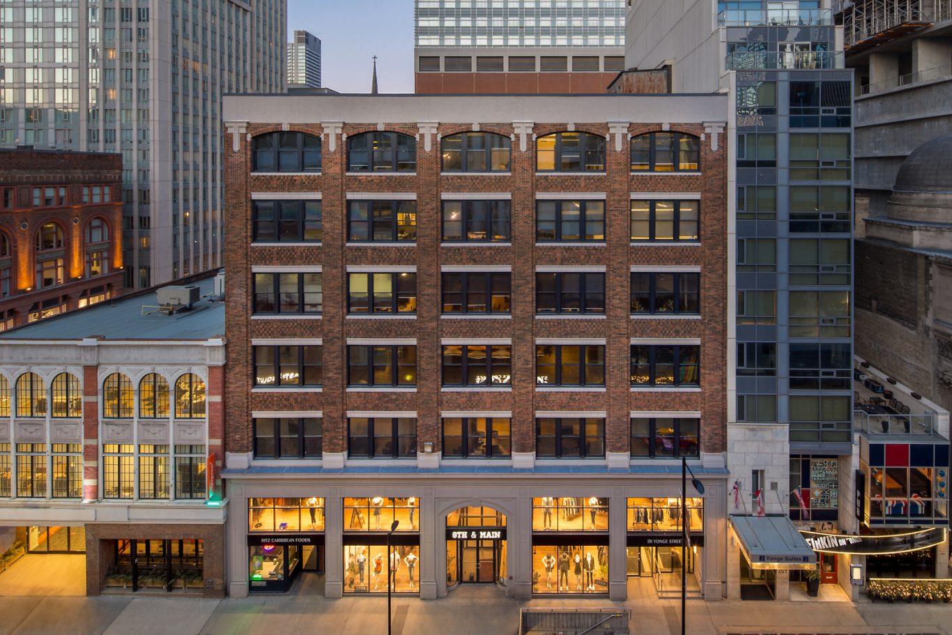 Exterior of midrise brick building