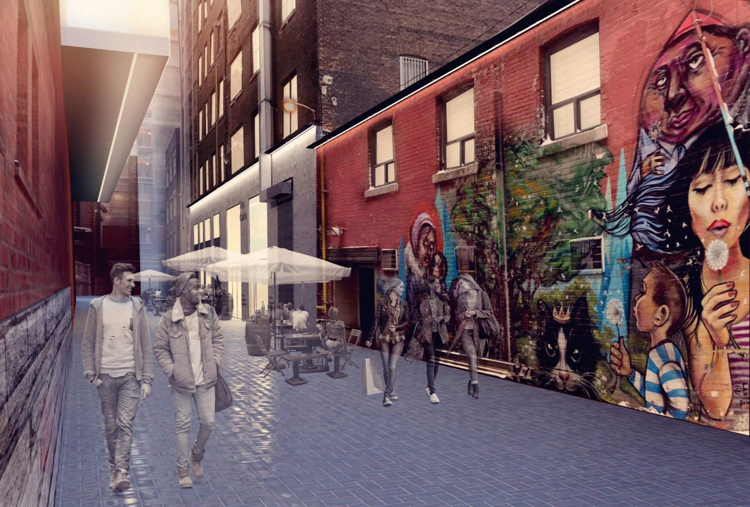 Rendering of wide pathway with pedestrians lined by buildings