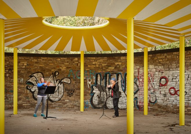 Musicians playing under the Oculus