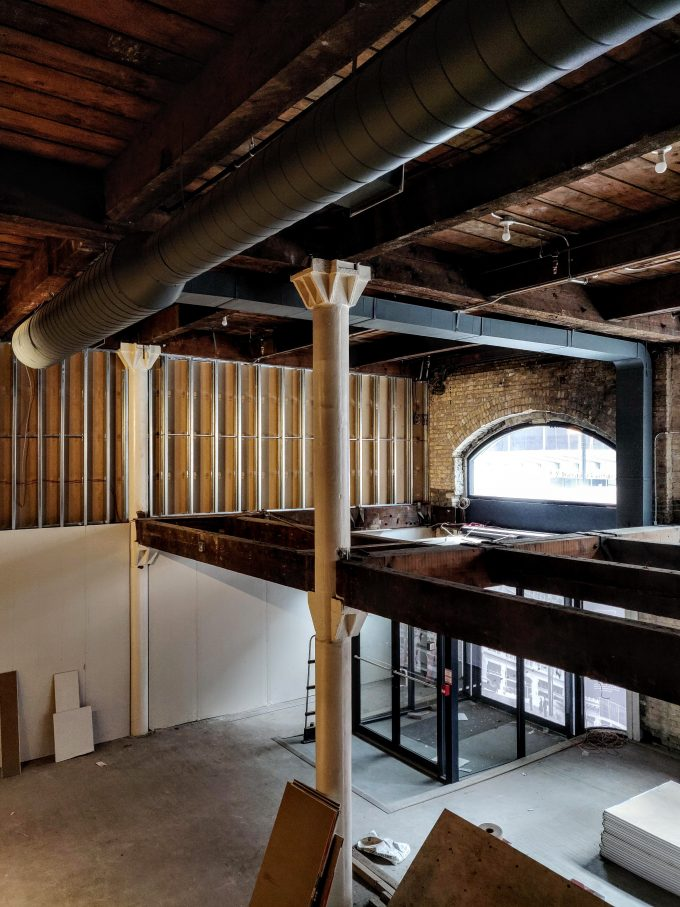 Construction on interior of 211 Yonge