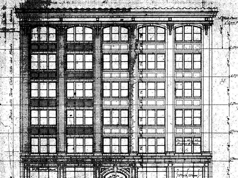 Architectural drawing of historic office
