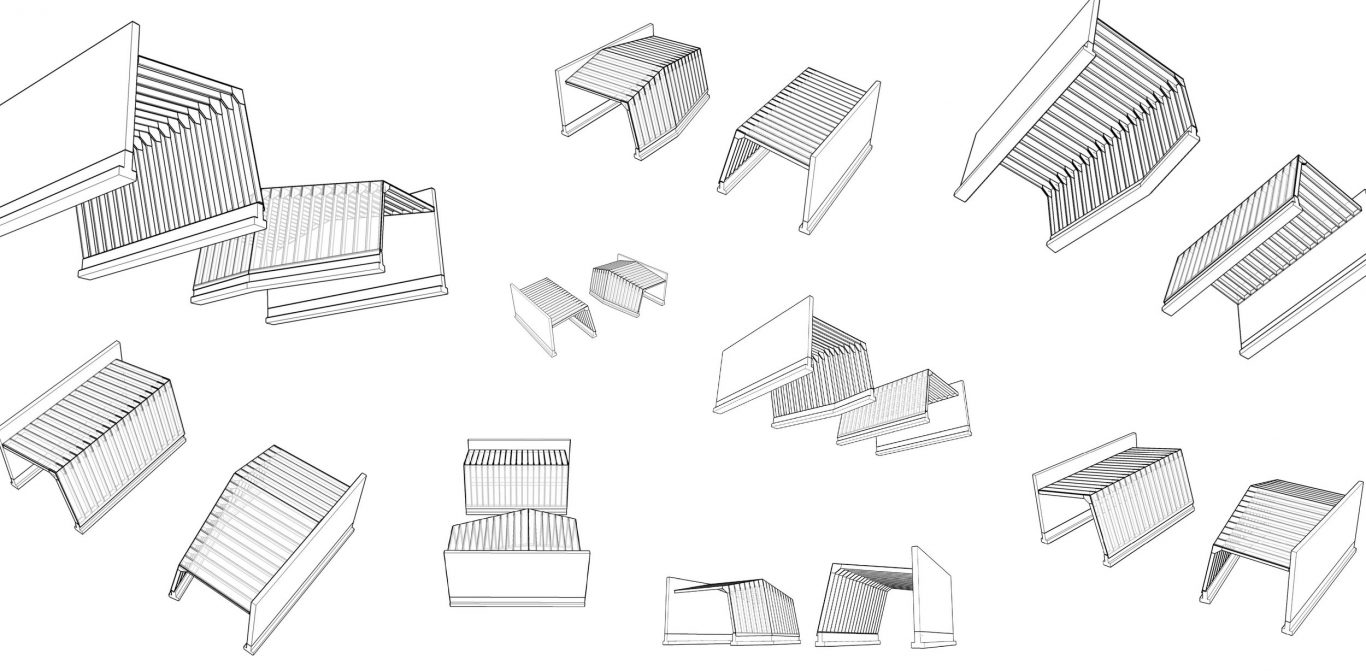 Architectural drawings of two sheds