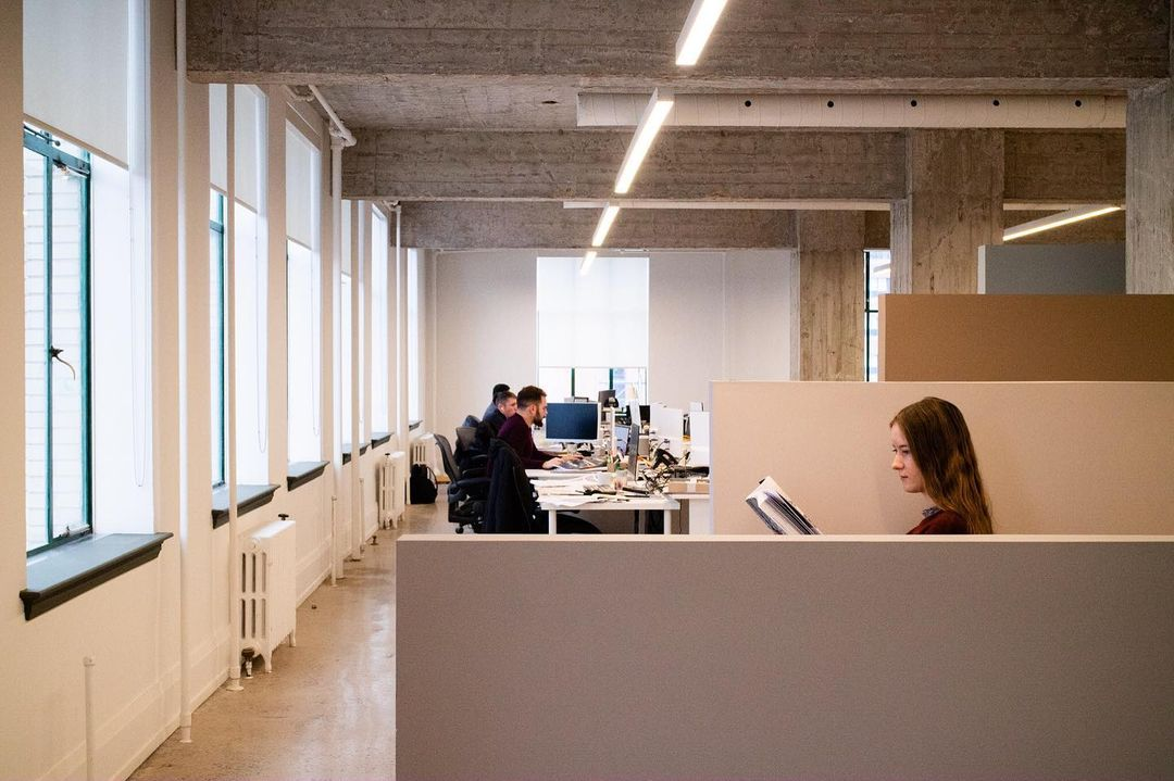 inside a brightly lit office